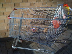 Empty shopping trolley against a brick wall