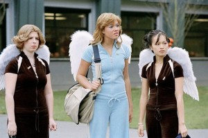 Tia, Hillary Faye, and Veronica, with angel's wings