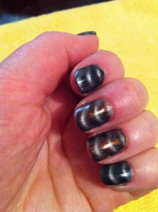 chrome magnetic polish over green and copper metallic polish