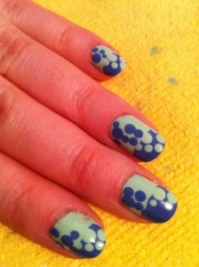 reverse colour scheme polka dots on tip and base, in mint and periwinkle