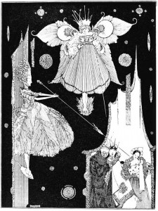At the very instant the young fairy came out from behind the hangings by Harry Clarke