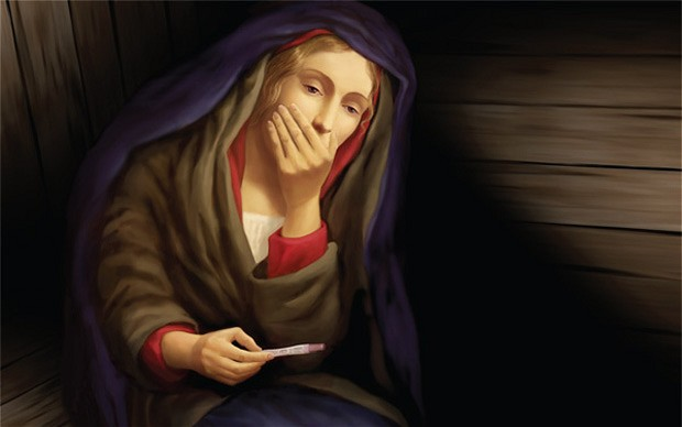virgin-mary_looking at pregnancy test