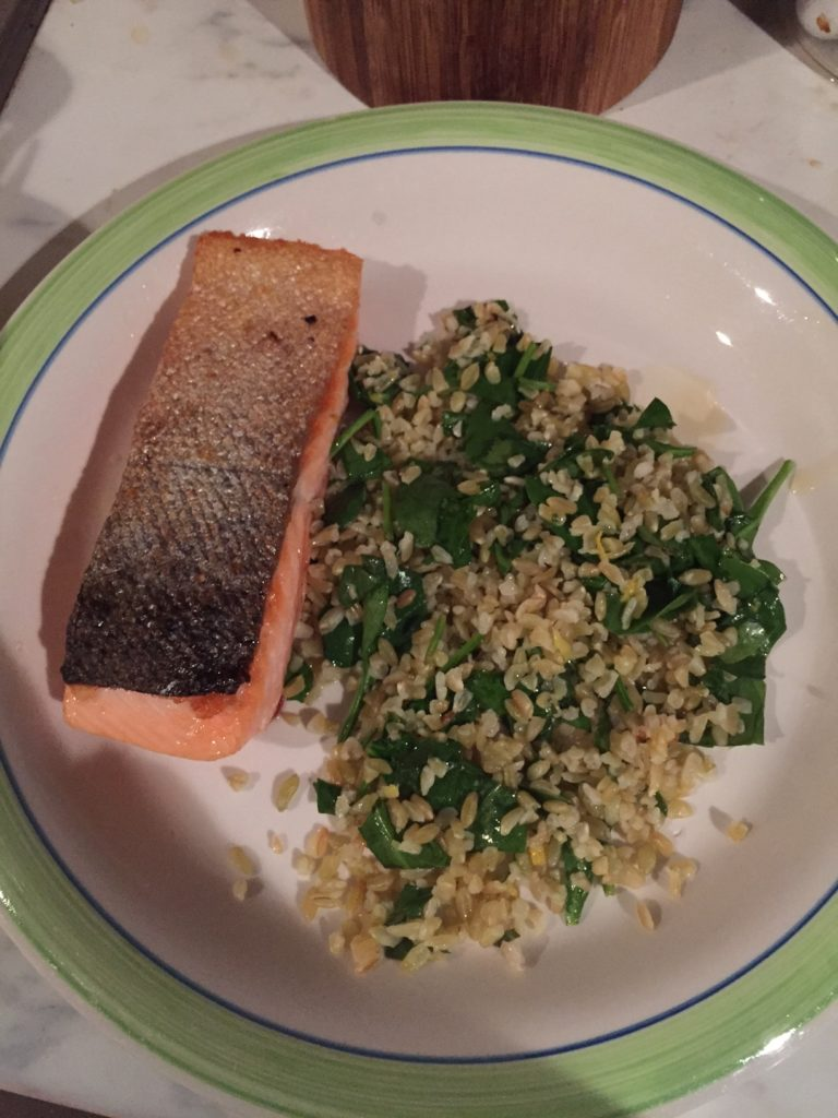 2 salmon and freekah salad
